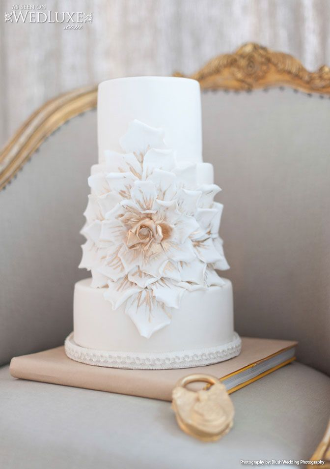 Stunning three tier #wedding #cake designed and created by @Kien and Sweet. Sugar flower with hand painted gold accents! LOVE! Seen on: City-Chic Style | WedLuxe Magazine Photo credit: Blush Photography