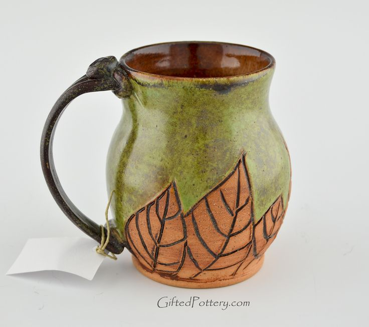 Handmade Pottery Mug w Saying - Green w Leaves | Gifted Pottery