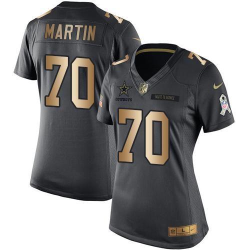Nike Cowboys #70 Zack Martin Black Women's Stitched NFL Limited Gold Salute to Service Jersey