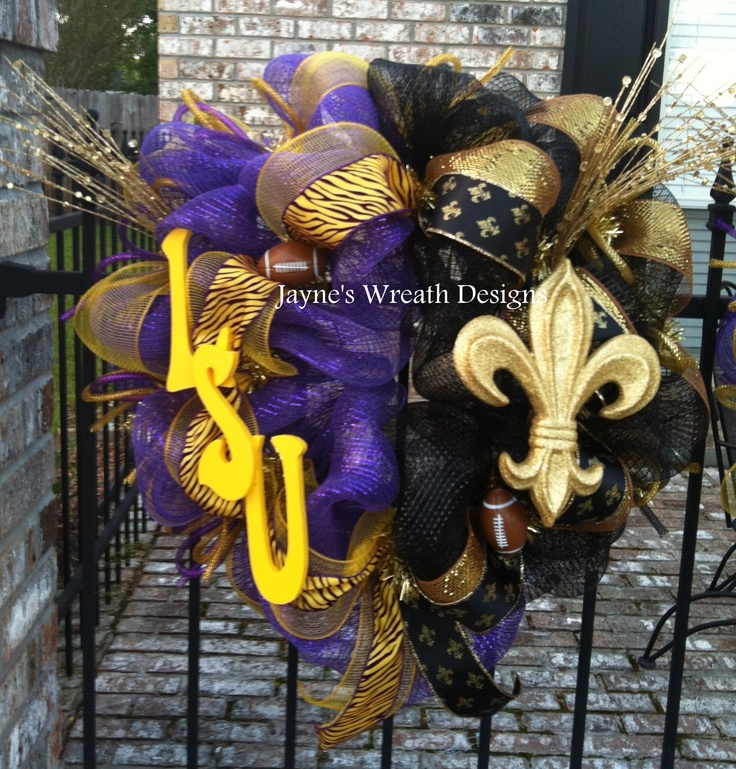 LSU/ Saints half & half House Divided Wreath with Fleur de lis