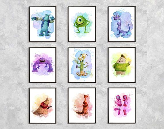 Monsters Watercolor Print