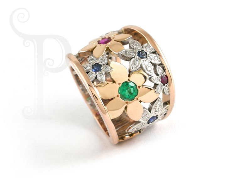 Handmade 18ct Yellow & White Gold Catherine the Great Daisy Ring Set With Diamonds, Rubies, Sapphires and Emeralds