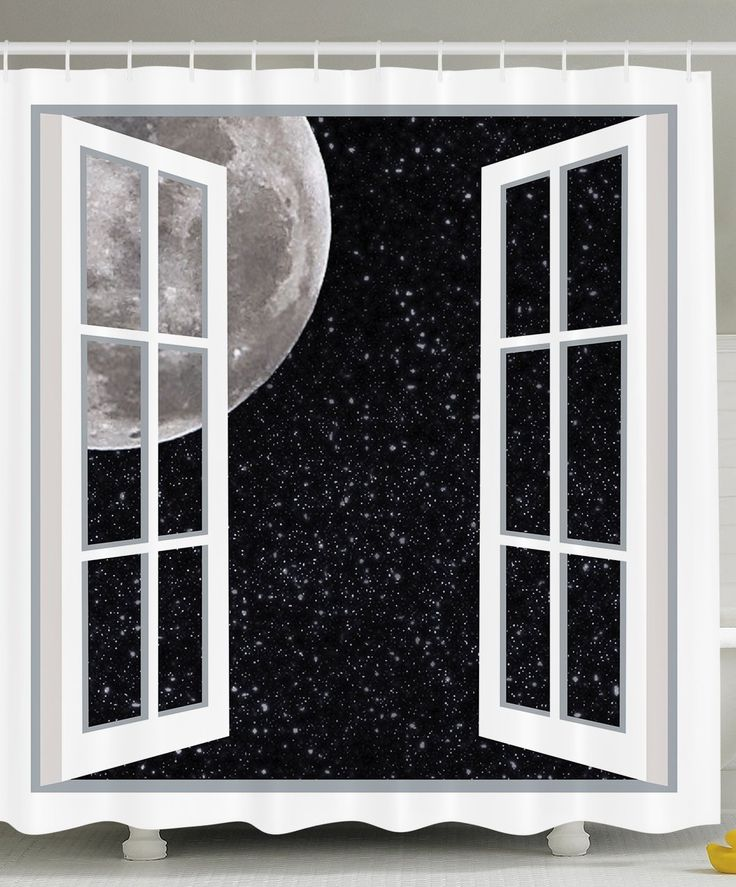 Amazon.com: Ambesonne Galaxy Home Designer Decor Collection, Full Moon Through Wooden Windows Fairy Scene At Night Space Art Picture Print, Astronomy Gifts, Polyester Fabric Bathroom Shower Curtain Black White: Home & Kitchen