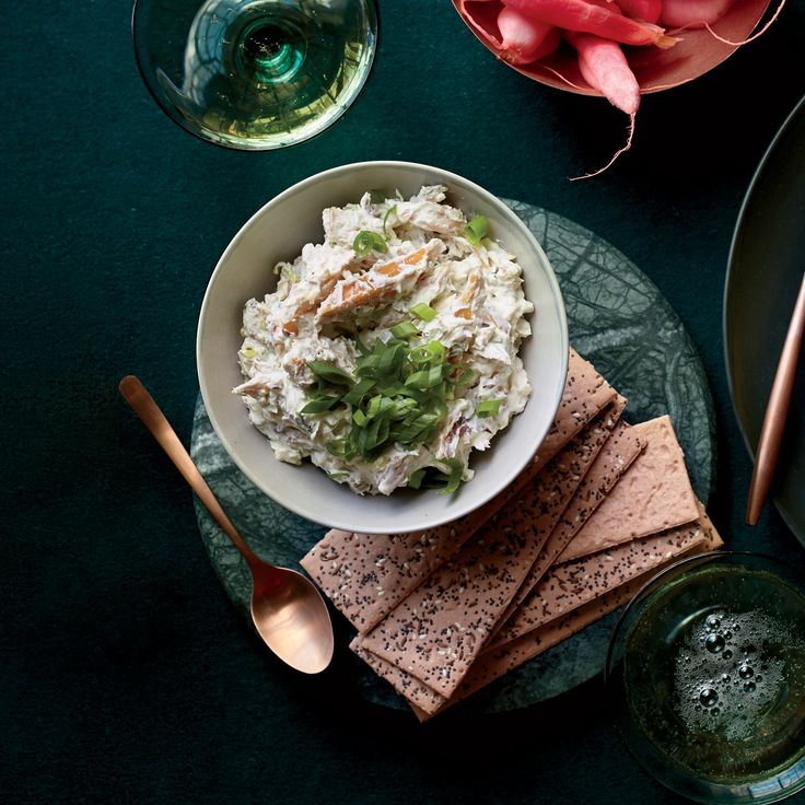 Smoked Trout-Caraway Rillettes | Lebneh is yogurt that's been strained to remove all the whey, resulting in a thick, creamy fresh cheese. Here, it provides the base for a light and tangy smoked trout spread.