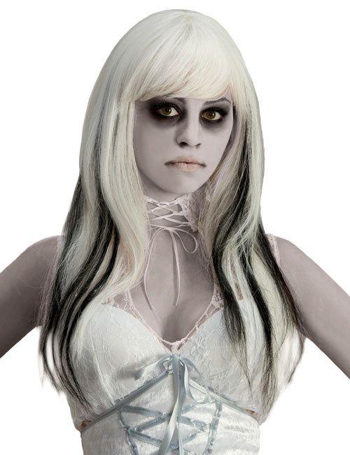 Geist Langhaar-Perücke Halloween weiss-schwarz aus unserer Kategorie Halloween Perücken. Mit dieser gruseligen Damenperücke verwandeln Sie sich in eine echte Geisterbraut! Perfekt als Accessoire zum Geist Kostüm!