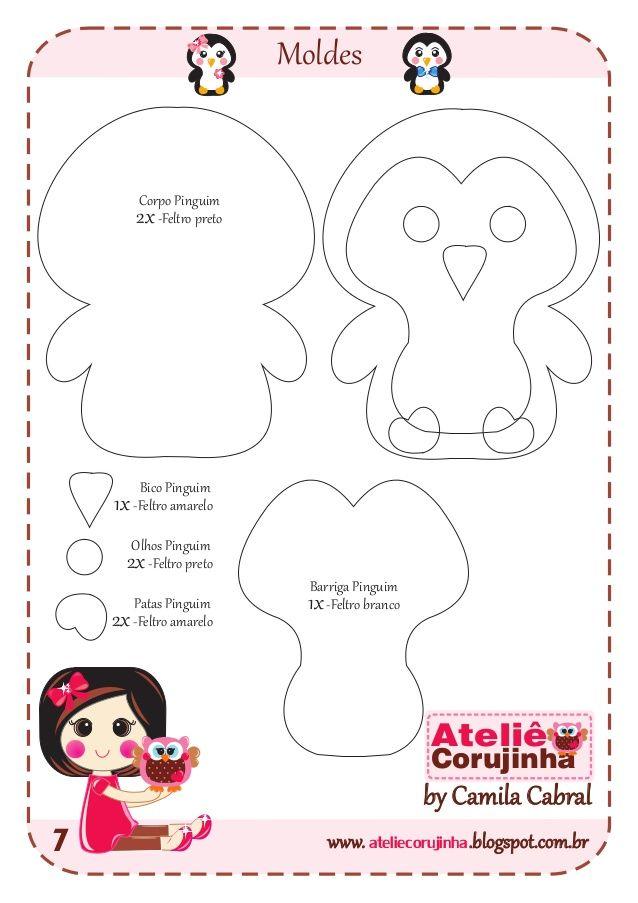 ateliecorujinhawww. .blogspot.com.brMoldes7by Camila CabralAteliêCorujinha2x-Feltro pretoCorpo Pinguim1x-Feltro brancoBarr...
