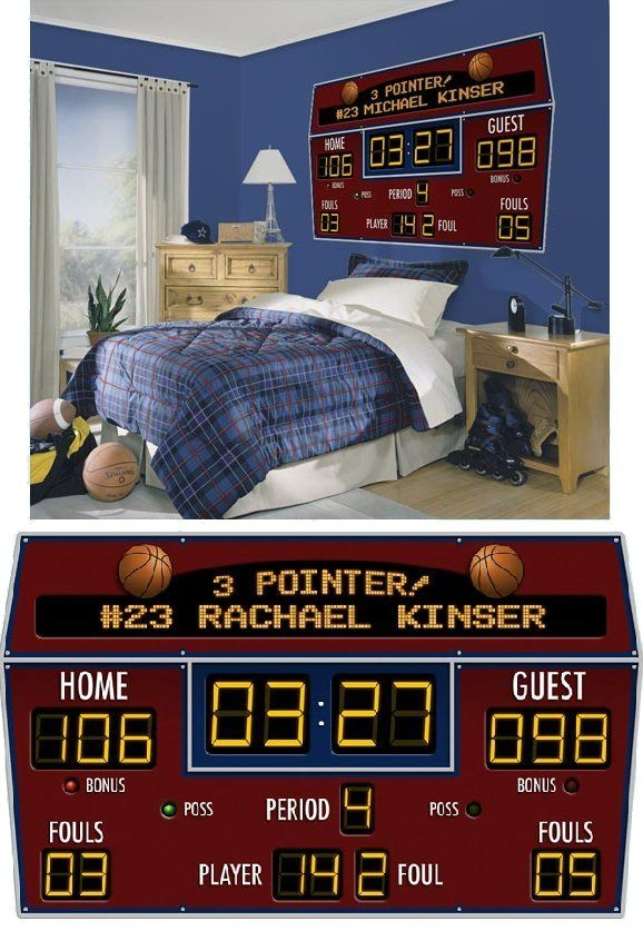 Basketball Scoreboard Peel And Stick Wall Mural   Kids Decorating Ideas