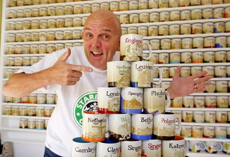 There are plenty of Starbucks devotees out there who plan their year around when they can get their hands on a pumpkin spice latte or a peppermint mocha. But they're not this guy. Andrew Ward from Thorpe Bay, Essex, spends his spare time collecting Starbucks mugs from around the world.