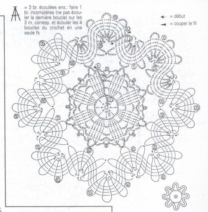 interesting little 'brussels lace' crochet motif diagram