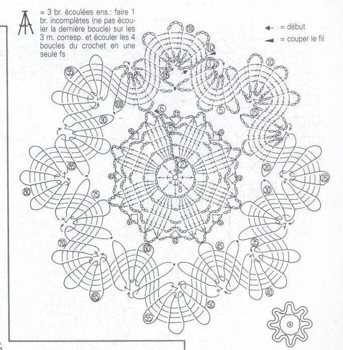 interesting little 'brussels lace' crochet motif diagram