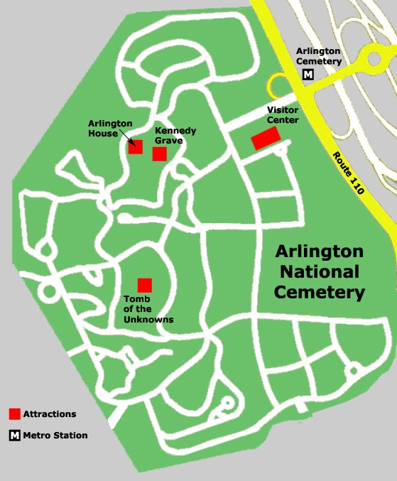 Arlington National Cemetery Map Washingtonnew York Trip - Arlington cemetery on us map