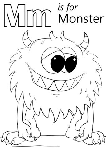 Letter M is for Monster coloring page from Letter M