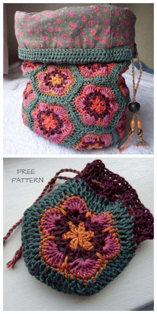 African Flower Bucket Bag Free Crochet Pattern