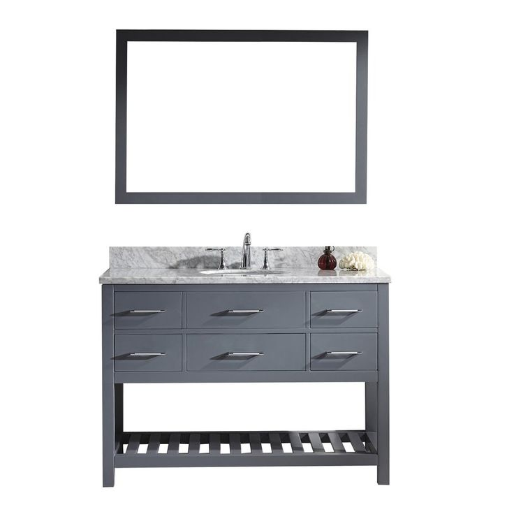 Gallery For Website Rishaan Single Bathroom Vanity Set with White Marble Top and Mirror