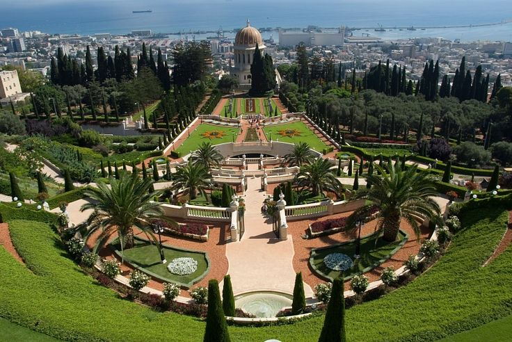 Israel tourism. Haifa. An amazing view of the bahai gardens. Israel vacation packages.