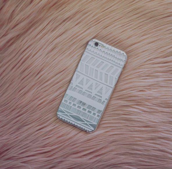 White Bamboo Henna Hard PC Mobile Phone Case