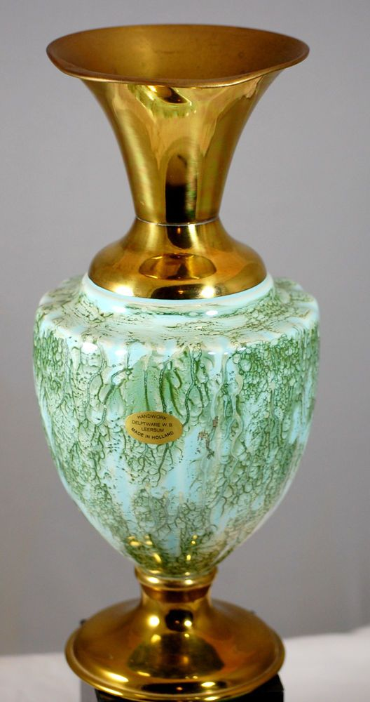 Vintage Green Porcelain And Brass Delft Vase Made In