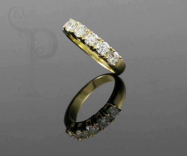 Handmade 18ct yellow Gold Double Claw Set Eternity Band, Set With Round Brilliant Cut Diamonds