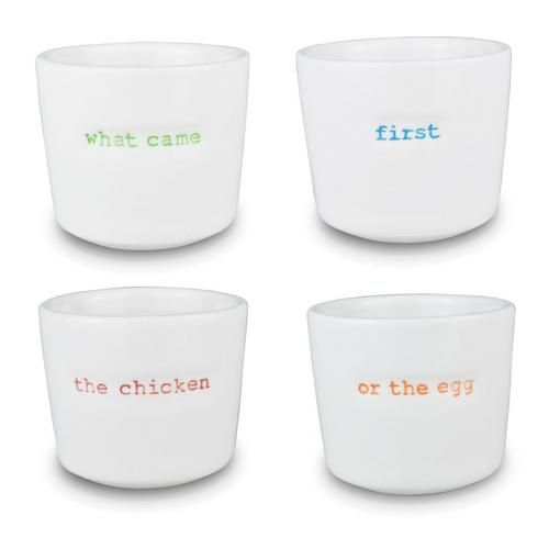 What Came First The Chicken Or The Egg? do we really care? I just want to have my eggs in the morning in some lovely designer egg cups by designer Keith Brymer Jones