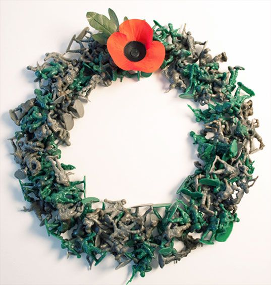 Veterans' Day Wreath made with plastic toy soldiers