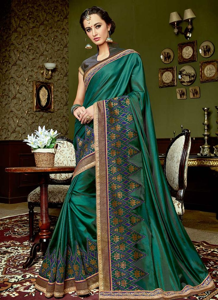 Buy Teal Green Art Silk Saree online from the wide collection of sari.  This Green | Teal colored sari in Art Silk fabric goes well with any occasion. Shop online Designer sari from cbazaar at the lowest price.