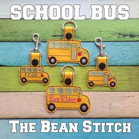 School Bus - TWO Sizes and TWO options Included!  #thebeanstitch #beanstitchers #TBS #ith #inthehoop #machineembroidery #felties #feltie #embroidery #digitaldownload #keyfobs #bagtag #diy #snaptab #snapbean #handmade #vinyl #felt #craft #etsy #shopsmall #embroiderygift #travel #everyday #design #multipurpose #teacher #school #bus #yellow #keychain