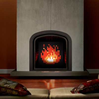 Price $150 - Warm your home without literally warming your home with these 8-bit fireplace art pieces that are reminscent of the pixelated fires you would see in the Legend of Zelda games. Available in various sizes for different fireplace styles, these geeky fireplaces great for retro gamers.