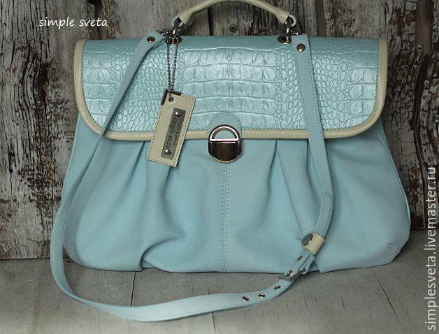 """Купить Гламурный портфельчик """"Нежный"""" - голубой, однотонный, летняя сумка, сумка голубая, женский портфель"""