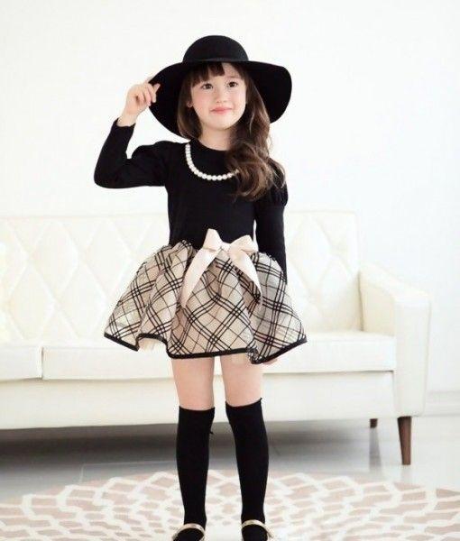 Vestido niña manga larga detalle collar lazo cintura