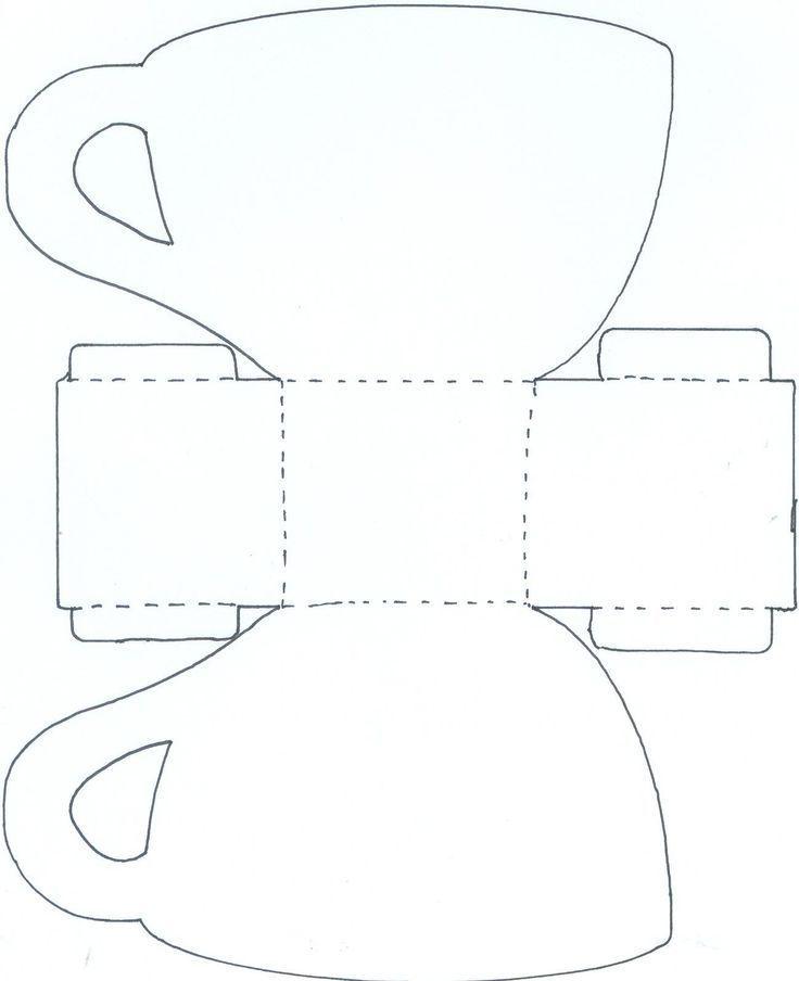 Шаблон чашка с блюдцем открытка
