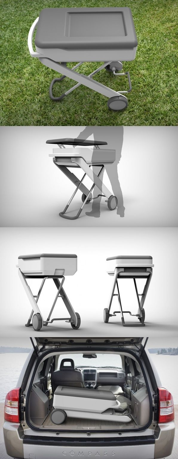 "The ""#Standincooler"" is named for its unique scissor frame that folds up from a super-compact position to make it easy for the user to access the contents. As a joint project with #KETER #plastics, the #durable top surface also doubles as a workspace for preparing food. For ultimate mobility whether you're camping or tailgating, the #design also features built in #wheels and a handle for easy #rolling. #YankoDesign #Product #Cool #New #Innovaative #Concept"