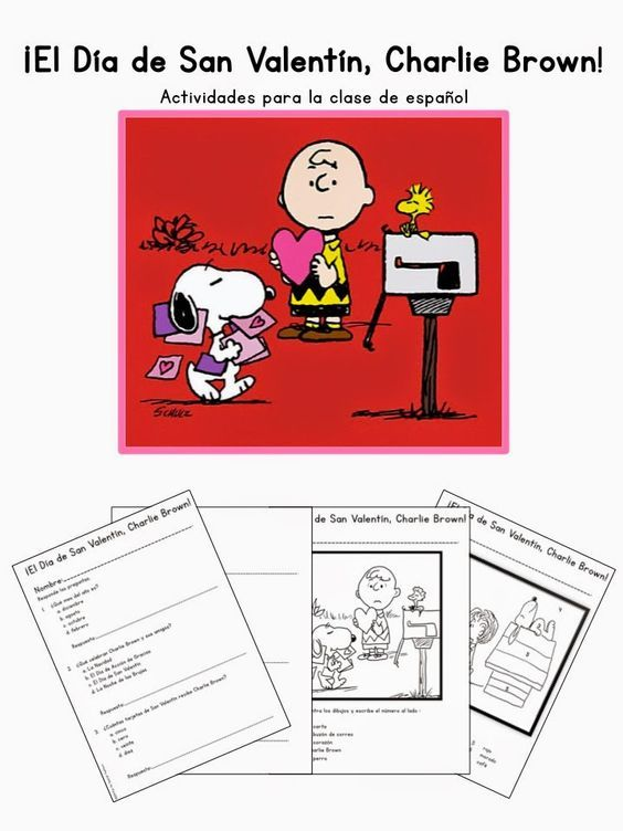 Elementary Spanish Valentine's Day Activity Packet - Goes with Be My Valentine, Charlie Brown