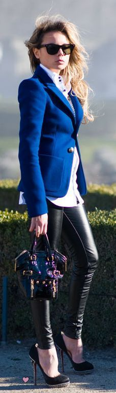 Blazer and faux leather leggings!