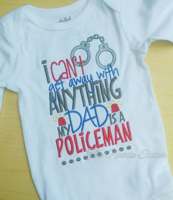Dad is a Policeman Police Shirt Police Pride, Policeman Daddy, Support Blue, Baby Shower Gift, New Baby, Pregnancy Announcement by TheNattieStitch