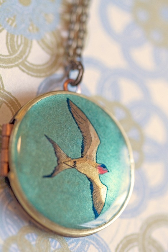 locket pendant necklace in gold brass with new by birdsoforegon, $32.50