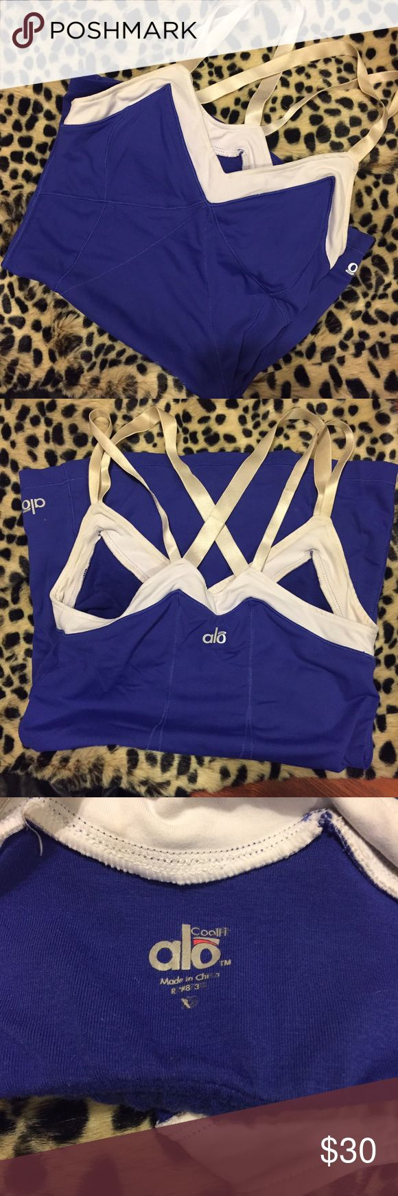 Alo Yoga Athletic Purple Tank Top Alo Yoga Purple Strappy athletic tank top! Super cute! White Strappy look! Size XS! Used but in good condition! Celebrity Favorite! ALO Yoga Tops Tank Tops