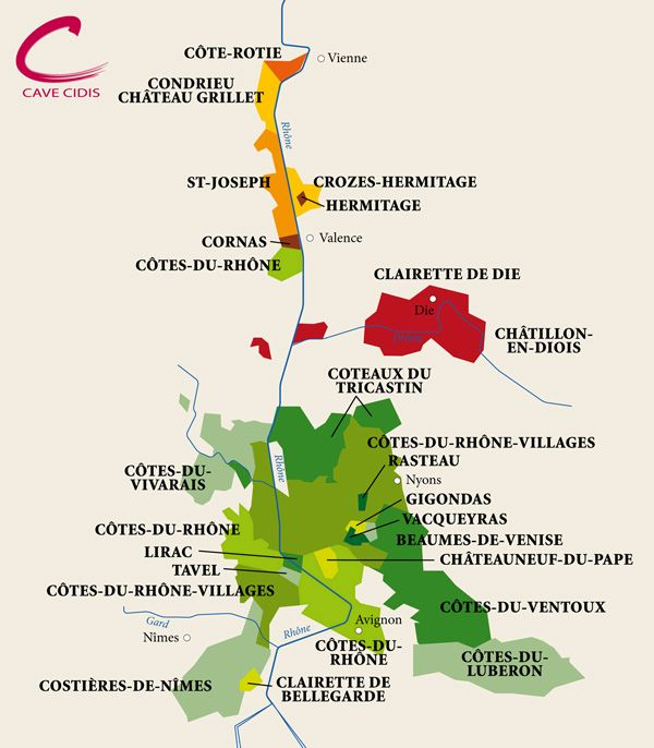 "[Map] ""Carte des Côtes du Rhône"" par Cidis.ch - Wine map northern and southern Cote du Rhone (France)."