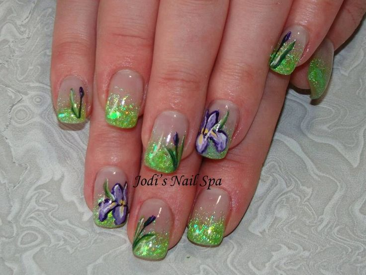 Acrylic with glitter fade and free hand iris flowers