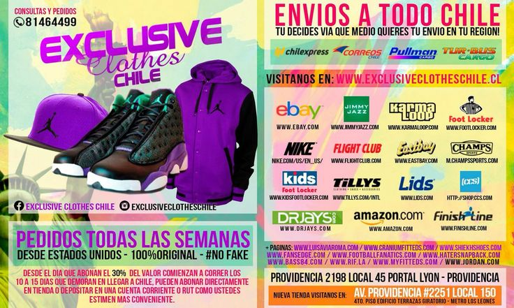Flyer promocional Tiendas EXCLUSIVE CLOTHES para pedidos a Estados Unidos.