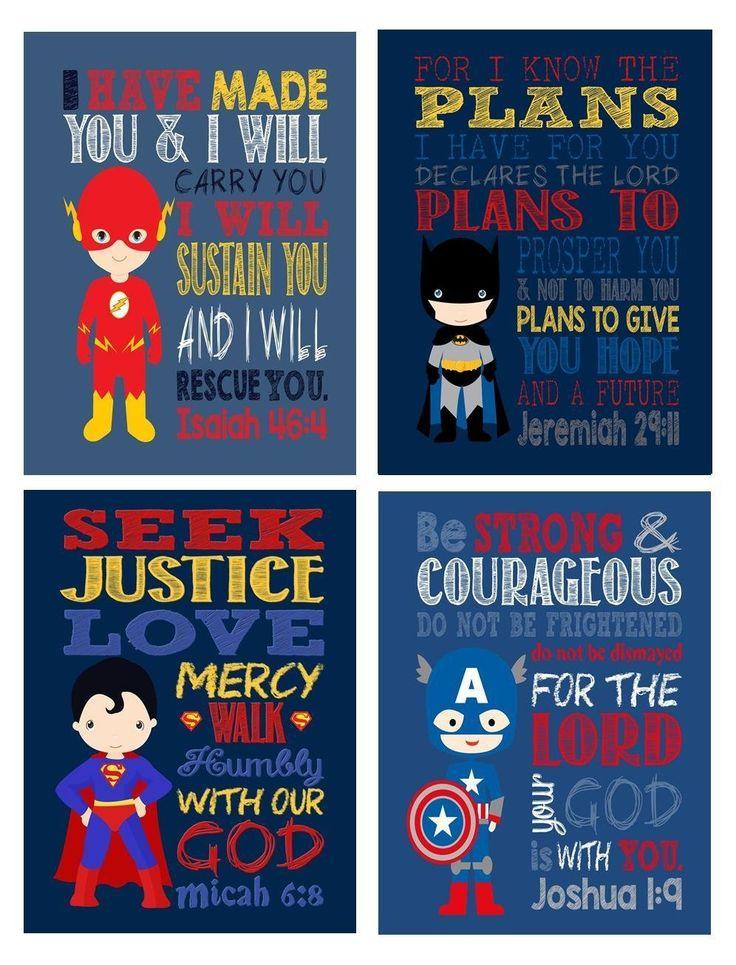 Superhero Set of 4 - Christian Wall Art Print - Batman, Superman, Captain America, The Flash - Nursery, Playroom or Kids Room Decor