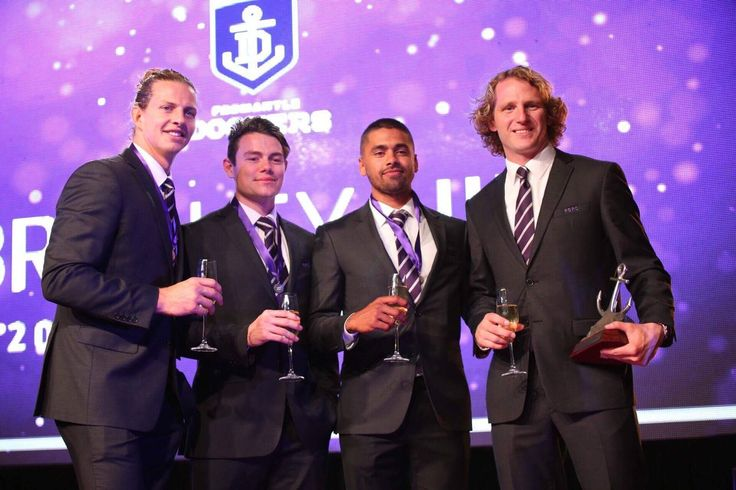 Bradley Hill, Lachie Neale, Nathan Fyfe and David Mundy; top 4 Doig medal players 2017