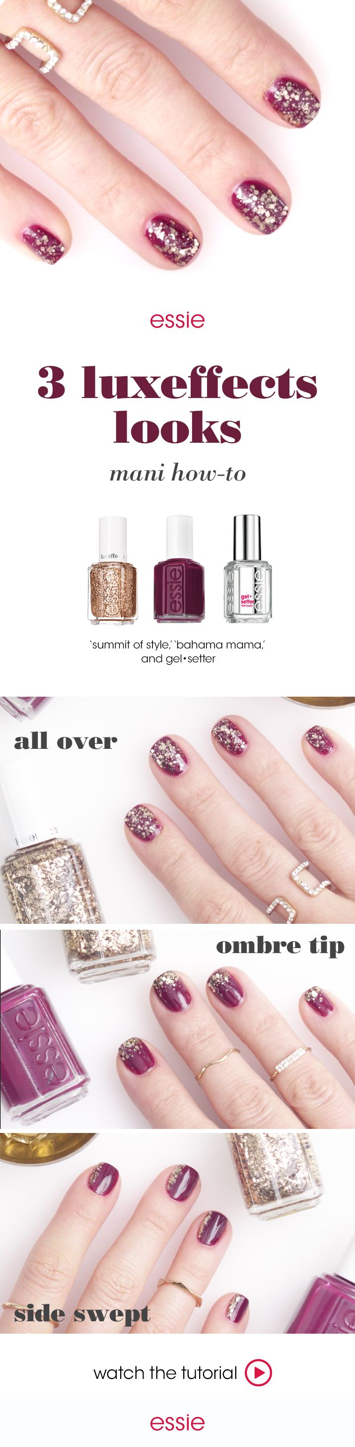 Add glitter and glamour to your manis. For these three different yet equally charming looks, you can apply a base coat of the rich deep plum 'bahama mama' and top it with sparking bronze 'summit of style' in 3 different and charming ways — i. create an all over look by applying a coat of summit of style, ii. define the tips to create an ombré tip or iii. apply to one side of the nail to create a side swept look. Whichever way you choose to shimmer, you'll dazzle away this holiday.