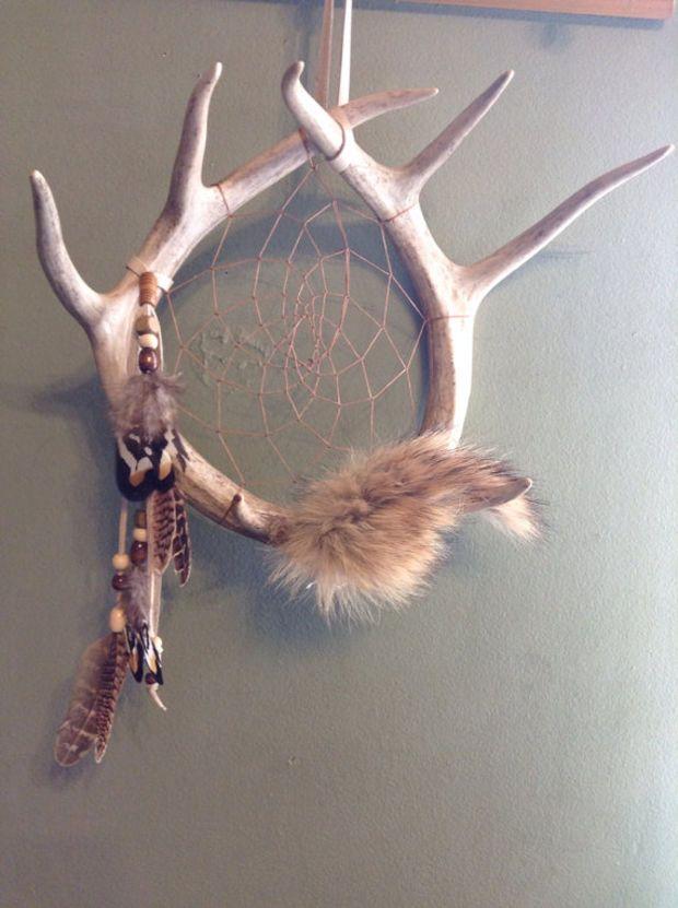 Deer Antler Dream Catcher Coyote Fur Pheasant Feathers