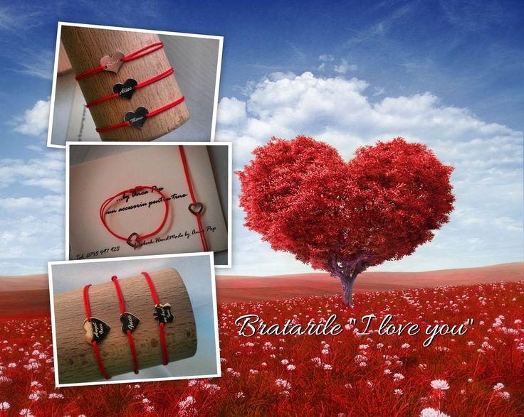 "Bratarile ""I love you"" in forma de inimioara sunt perfecte pentru indragostiti! Daruieste-i o bratara gravata cu numele tau! Medalionul este din aur galben, 14! #love#lovely#heart#red#bracelet#name"