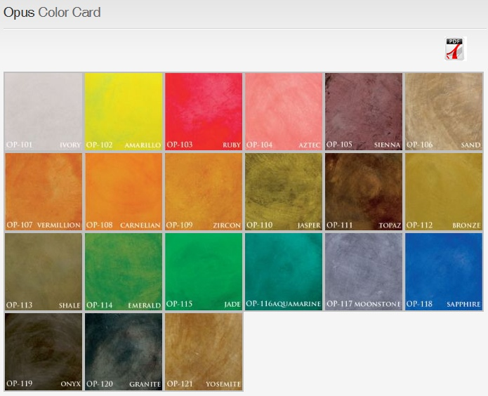 color chart featuring opus water based stains by concrete earth - Beton Color