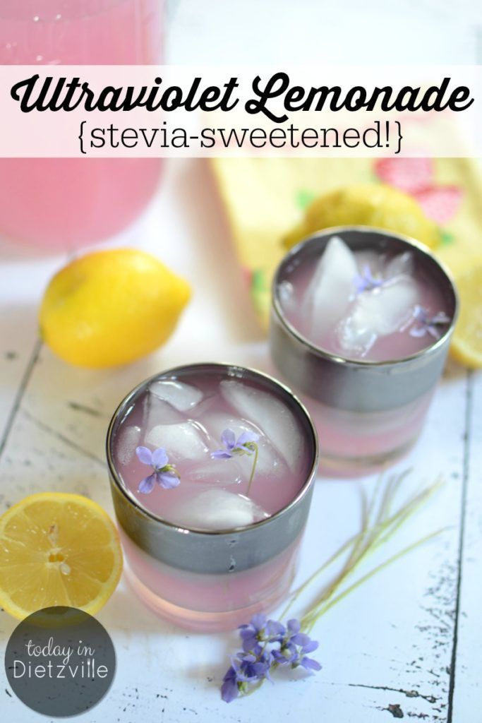 Ultraviolet Lemonade {stevia-sweetened!} | Bottle up summer with this sugar-free Ultraviolet Lemonade, made from wild violets! It's a low-carb, low-glycemic, floral twist on classic lemonade -- and a non-alcoholic way to enjoy wild violets! #allthenourishingthings #stevia #wildviolets #foraging #lowcarb #ketodrinks #healthysummerdrinks