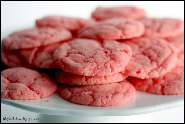 Pillsbury Moist Supreme Strawberry Cake Mix COOKIES - Preheat oven to 350 and line two cookie sheets with parchment paper. Add 2 eggs and 1/3 cup vegetable oil to cake mix and stir well. Use a large spoon to scoop batter onto cookie sheets and bake for approximately 8-9 minutes.