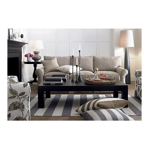 Crate and Barrel - Olin Grey Rug in All Rugs. Love the neutrals and the use of the striped rug.