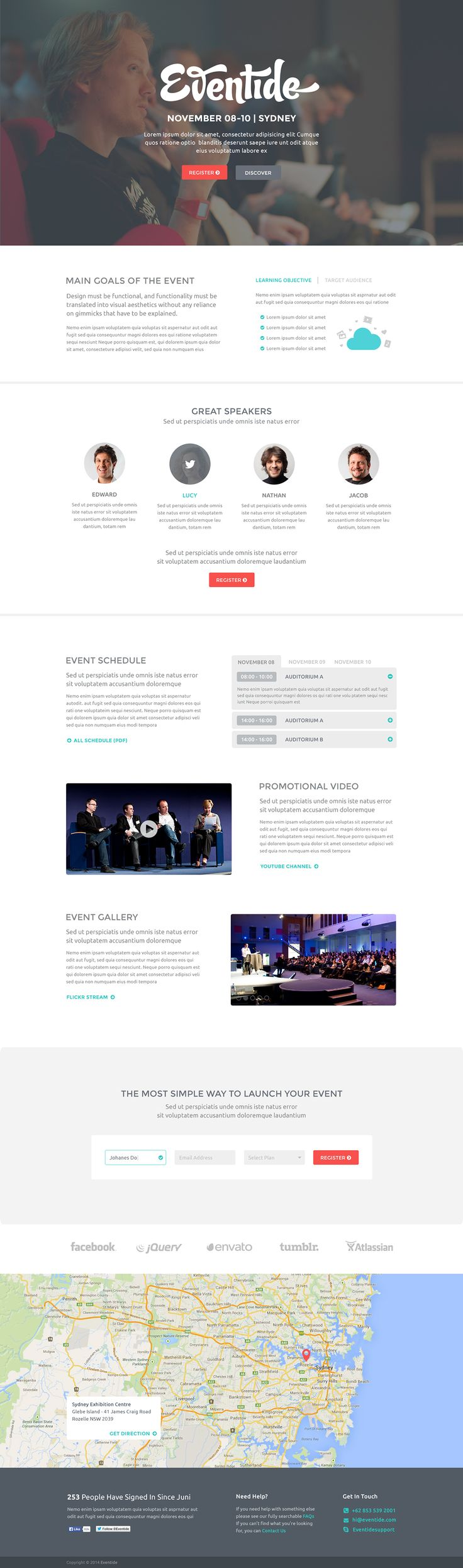 Clean and nice designed event or conference website template. In the PSD file you'll find a landing page with event schedule, promotional video page, event gallery, event map and others. The freebie was designed by Weekend.