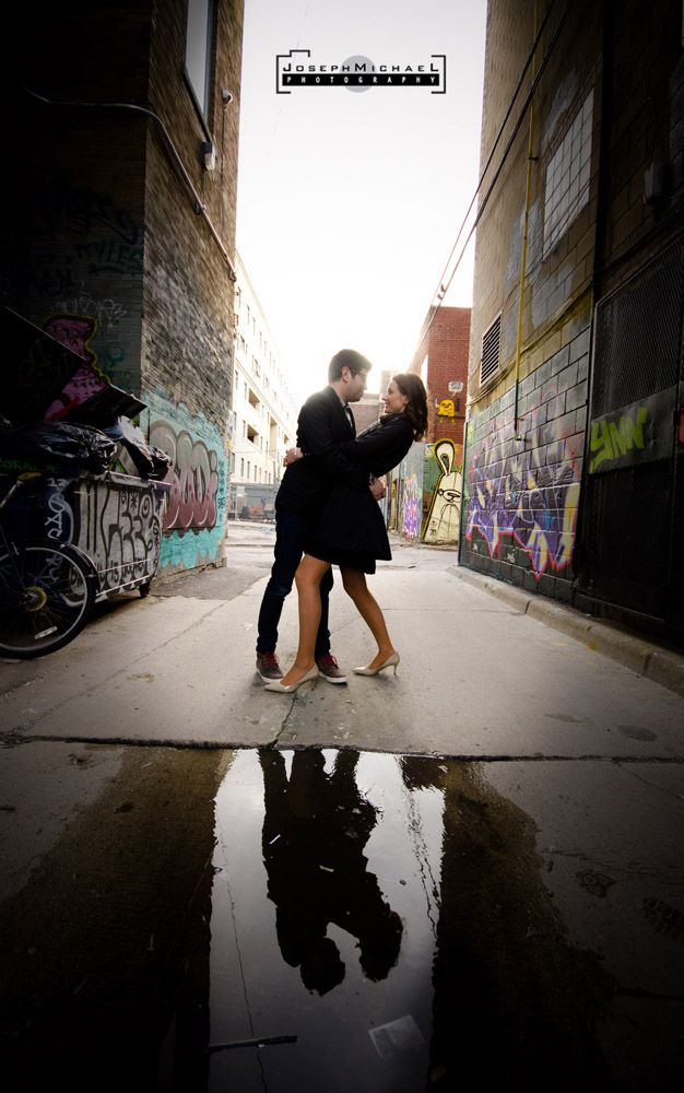 LOVE the reflection here! (Rush Lane Toronto Engagement Photos)